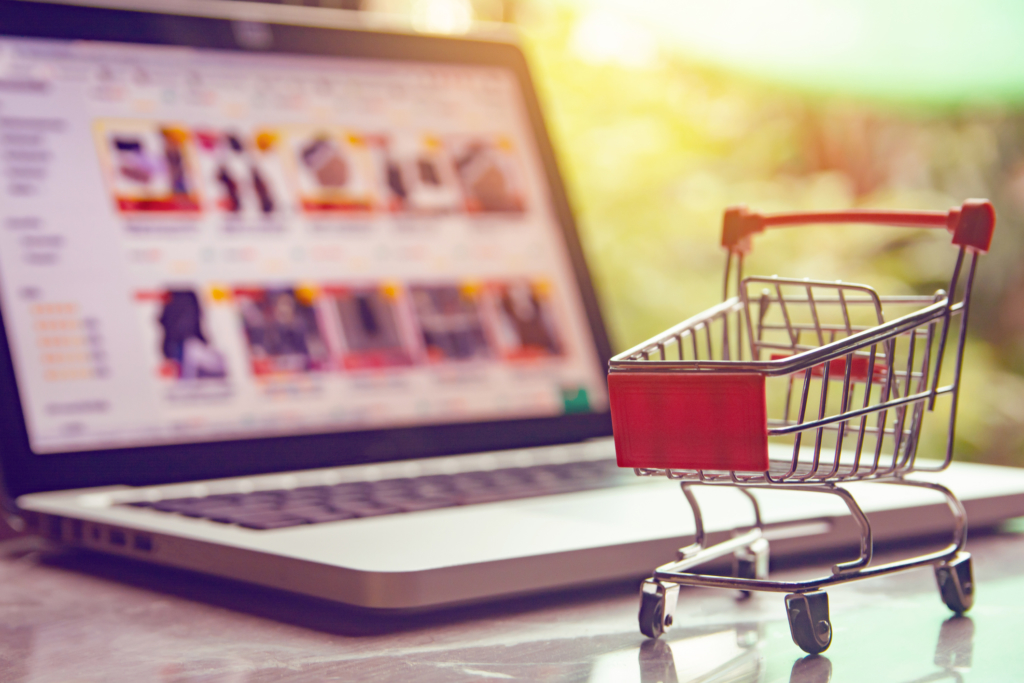 Image of shopping cart in front of web catalog to illustrated need to sync FileMaker and WooCommerce data fields for seamless webstore sales.